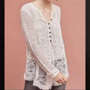 Anthropologie Scalloped Lace Blouse Floreat 4
